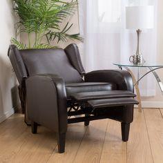Hadley Espresso Leather Wingback Club Chair Recliner