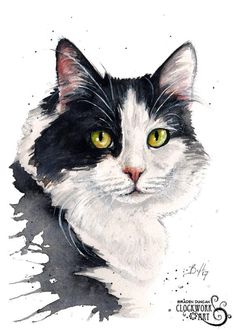 Original Custom Watercolour Pet Portrait (Face Only) - Cats and other felines Watercolor Cat, Watercolor Animals, Watercolor Portraits, Watercolour Pencil Art, Watercolor Paintings, Photo Chat, Desenho Tattoo, Cat Drawing, Figure Drawing