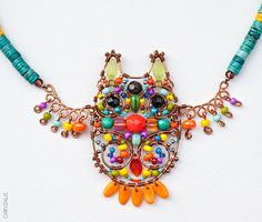 colourful owl necklace … love this