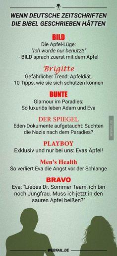 Wenn deutsche Zeitschriften die Bibel geschrieben hätten | Webfail - Fail Bilder und Fail Videos
