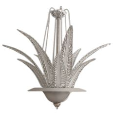 1stdibs | An Italian Art Deco Clear and Frosted Glass 6-Light Chandelier