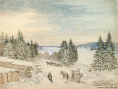 Magnus von Wright (1805-1868) Talvimaisema Savosta / Winter landscape Savo 1840 - Finland - Finnish horses