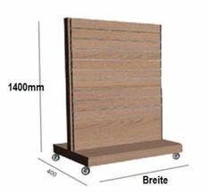 Ladeneinrichtungen, Geschäftsausstattungen Komplettangebot-Lamellenwand-Mittelraumregal TM H=140cm, T=40cm