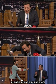 When Jared gave Jimmy a snake, and this was his reaction, I died laughing.