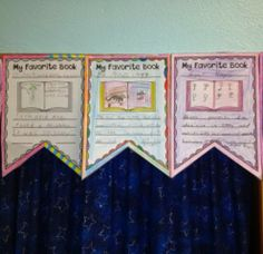 My Favorite Book pennants.  Get this one banner template free!
