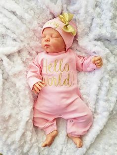 3fa7f2967c8 Baby Girl Coming Home Outfit Hello World Baby Girl Newborn Baby Girl  Personalized Baby Girl Personalized Newborn Hat Baby Girl Gift