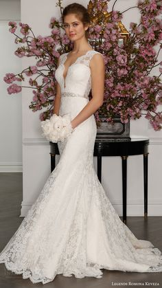 LEGENDS ROMONA KEVEZA bridal spring 2017 sleeveless illusion deep vneck lace sheath gown wedding dress (l7132) mv   #bridal #wedding #weddingdress #weddinggown #bridalgown #dreamgown #dreamdress #engaged #inspiration #bridalinspiration #weddinginspiration #weddingdresses #lace #romantic