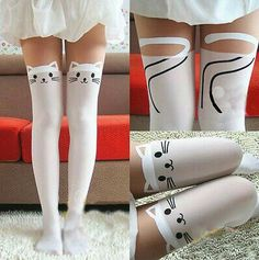 For my stitchfix stylist - The idea of wearing kitty stockings is just so cute. I don't know how I would wear it but I would still try. Kawaii Fashion, Cute Fashion, Cat Tights, Looks Kawaii, Pantyhosed Legs, Cute Stockings, Thigh High Socks, Stocking Tights, Cute Socks