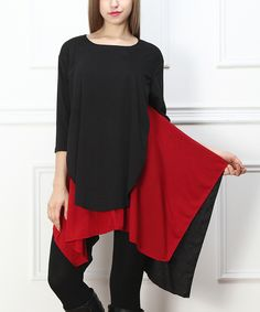 Black & Red Color Block Sidetail Tunic