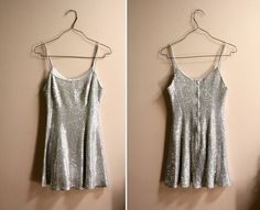 1980s Silver Sequin Sleeveless Dress // Disco Party Mini Dress ( xs )