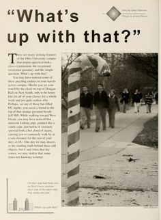 "Athena Yearbook, 2000. ""On their way back from class on West Green, students steer clear of the vapor-emitting candy cane pipe."" :: Ohio University Archives"