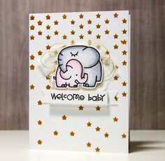 Welcome Baby by Pamela Ho using a Simon Says Stamp Stencil with some Cute Paper Smooches Stamps .  March 2014