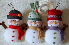 Trio Bonequinhos de neve by Ei menina! - Erica Catarina, via Flickr
