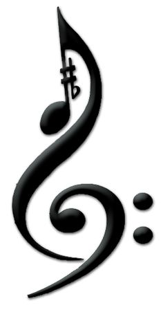 Music Tattoo:  Treble Clef, Bass Clef, Sharp, Flat, Eighth Note