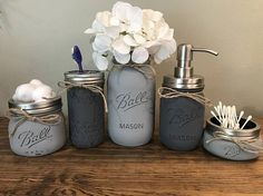 #1 Mason Jar Bathroom Set Seller!! Fully customized to your decor!! This listing is for a super cute and trendy 5 Piece Rustic Mason Jar Bathroom Set. This piece is perfect for organizing your bathroom and also at the same time making it very charming :) These make the perfect gift