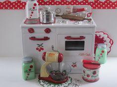 Vintage Toy Tin Stove Play Kitchen Cherry Red Gingham. $75.00, via Etsy.