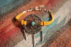 Yellow Suede Dreamcatcher Gypsy Chic Stacking by TurquoiseCrush