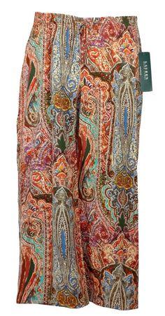 Ralph Lauren Womens Pants Wide Leg Palazzo Cropped Ethnic Printed Sz 10 NEW $119 #RalphLauren #CasualPants