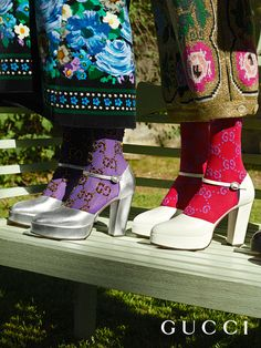 From Gucci Cruise 2018 by Alessandro Michele, leather platform pumps designed with a round toe and a chunky heel.