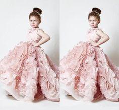 Exquisite Pink Flower Girls' Dresses for 2016 Wedding Bridal Party Little Misses Krikor Jabotian First Dance Prom Kids Formal Pageant Wear