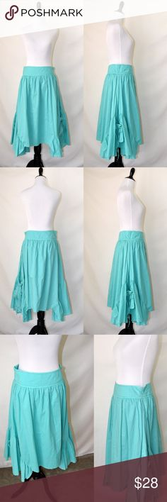 NWOT Purple Clover Modcloth Long Pockets BL Skirt New without tag Purple Clover  Vintage style Retro style Size small Light weight No stretch Two pockets on each side Asymmetrical Midi length Color: aqua (also green and orange are available from my other listings) No care label  ❤️Offers welcome😀 Purple Clover Skirts Midi