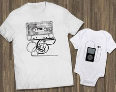 Father Son Baby | Matching Shirts Dad | Cassette Ipod Set White | Tees Dad | Matching Dad Boy | New Baby Matching | Matching Father Baby