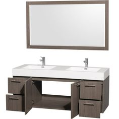 "Wall Mounted Bathroom Cabinets Amare 60"" Gray Oak Wall Mounted Bathroom Vanity Set With"
