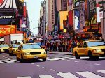 Traffic on Times Square par Patrick Kinn Times Square, Art Gallery, Nyc, New York, Taxi, Artwork, Painting, Toile, Artist