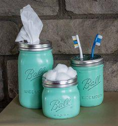 Mason Jar Vanity Set, Retro Green Makeup Jars, 3 Piece Bathroom Vanity Set, Shabby Chic Vanity Set,Mason Jar Tissue Holder by jaxscorner on Etsy