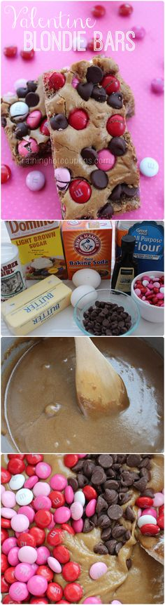 Valentine Blondie Bars (yummy but cool butter/sugar longer than 5 mins so choc chips don't melt; I just sprayed pan)
