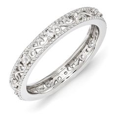 3mm Sterling Silver Stackable Expressions White Topaz Ring - Size 8 - JewelryWeb