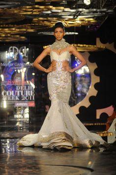 White Mermaid Style Indian Bridal Dress