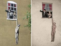 Real life Banksy re-creations by Nick Stern