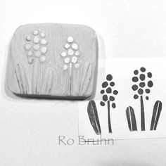 Hand carved grape hyacinth stamp by robruhn on Etsy, $15.00