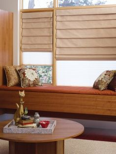 On large windows use honeycomb shades to filter sunlight and layer roman pleat shades for additional privacy.