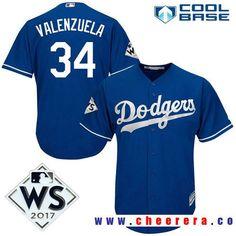 41d543d76 Men s Los Angeles Dodgers  34 Fernando Valenzuela Royal Blue Alternate 2017  World Series Patch Majestic