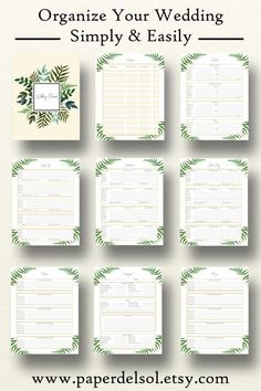 Printable Wedding Planner, Wedding Planner Printable Use these printable wedding planner pages in your DIY wedding binder or wedding planning book!  https://www.etsy.com/listing/519539069
