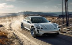Download wallpapers Porsche Mission E Cross Turismo Concept, 2018, exterior, racing car, electric car, German cars, white E Cross, Porsche