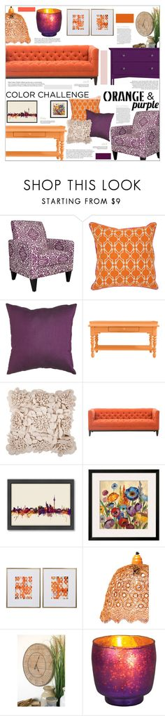 """""""Orange & Purple"""" by cynthia6 ❤ liked on Polyvore featuring interior, interiors, interior design, home, home decor, interior decorating, angelo:HOME, Pier 1 Imports, Stanley Furniture and Americanflat"""