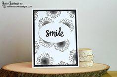Smile Black and White Flower card by Jess Gerstner | Flower Garden Stamp set by Newton's Nook Designs #newtonsnook