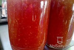 Fokhagymás paradicsomszósz télire Jalapeno Jelly, Canning Salsa, Hungarian Recipes, Salsa Recipe, Canning Recipes, Food Storage, Plum, Watermelon, Pesto