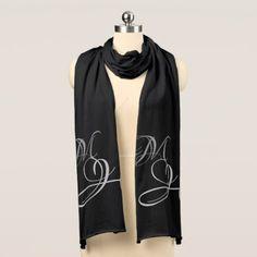 Elegant Monogrammed Black Jersey Scarf - typography gifts unique custom diy