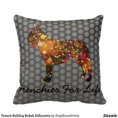 French Bulldog Bokeh Silhouette Pillows