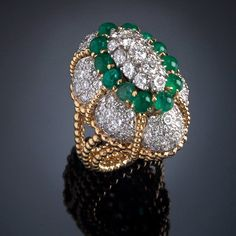 Diamonds and emeralds ring FRANCE, 1950s