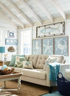 Coastal decor - decorating a beach condo on a budget. We like coastal living! Here we aim to capture the heart and soul of achieving the best coastal decor for the home with a variety of things and way of living Coastal Living Room, Ocean Inspiration, Coastal Decorating Living Room, Decor, House Interior, Farm House Living Room, Beach Living Room, Home Decor, Beach House Decor