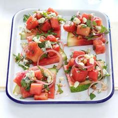 Juicy Watermelon Salad Recipe - love my watermelon salsa recipe, this sounds like it could be good - similar but different.