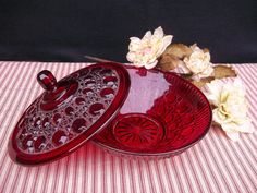 Ruby Red Pressed Glass Candy Dish.