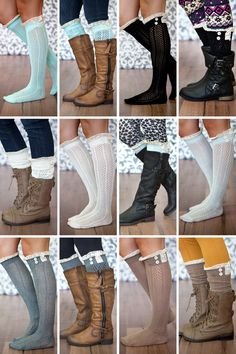 Show mckenna Lace Button Boot Socks- 6 Adorable colors! Wear them knee length or scrunched up for shorter boots. Adds a cute peek of lace with your favorite pair of boots! Hippie Style, Hippie Chic, My Style, Crochet Boots, Knit Boots, Crochet Lace, Ugg Boots, Over Boots, Cute Outfits