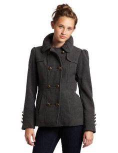 Hydraulic Juniors Military Faux Wool Coat, Charcoal, Large Hydraulic. $59.99
