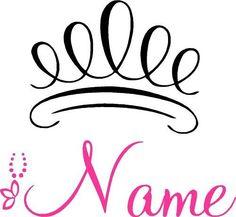 Princess Crown with Name Curly Wall Decal Custom Decor   eBay
